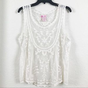 Candie's Off-White Lace Sheer Tank